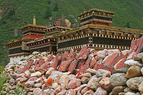 The monastery with mani wall at Dzongsar Monastery in Kham, Tibet