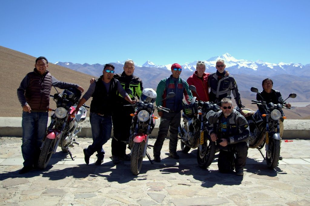 Motorbike group at Tongla pass, Tibet by Tibet Roof of the World travel agency, Tibet