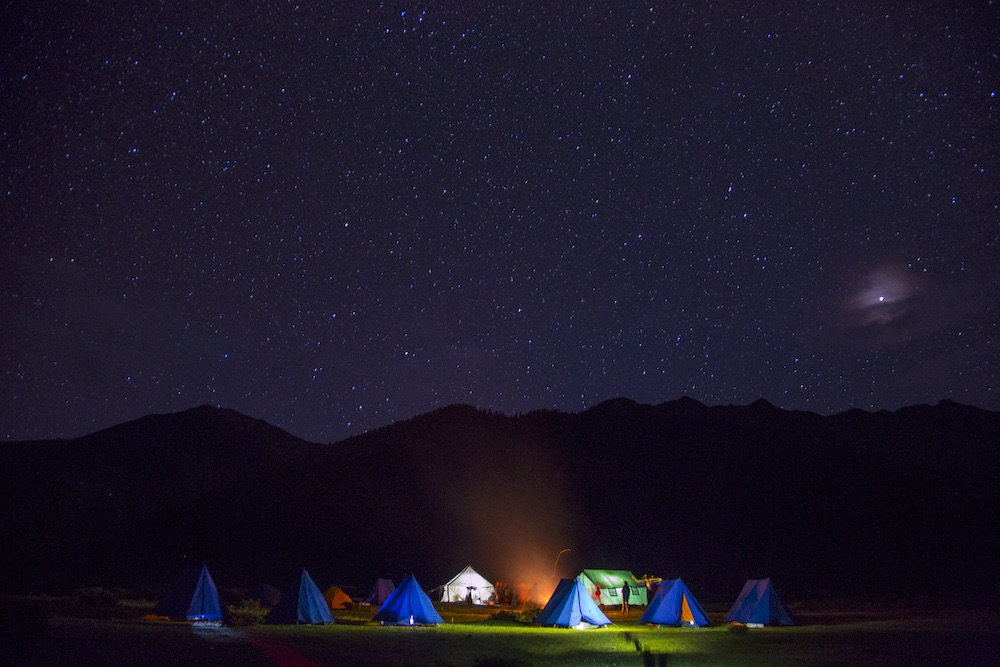 WIndhorse Tibet trekking camp by night