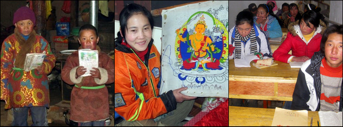 These children of an orphanage as studying and learning thank painting. They are supported by Snowlion Tours, an eco tourism company based in Xining, Tibet