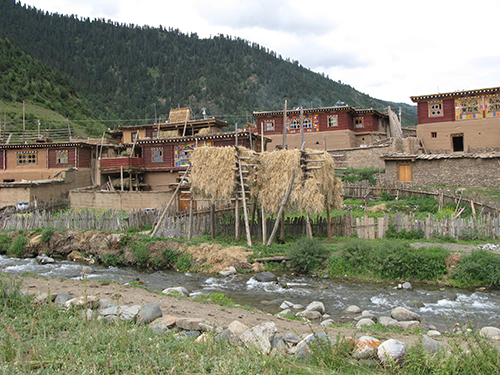 Farmers village in Dzongsar Valley, Kham, Tibet