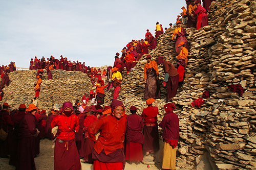 Nuns working on Mani wall in Yachen, Kham, Tibet