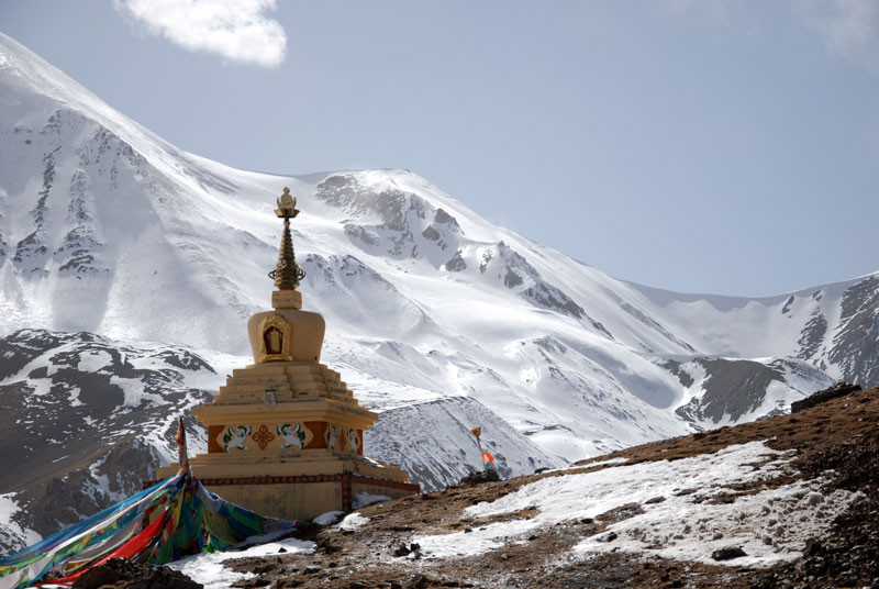 Stupa at glacier in Amdo, East-Tibet